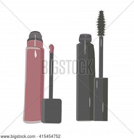 Lip Gloss And Mascara On A White Background