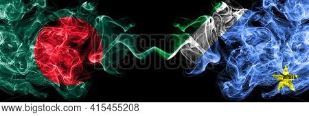 Bangladesh, Bangladeshi Vs Brazil, Brazilian, Mato Grosso Do Sul Smoky Mystic Flags Placed Side By S