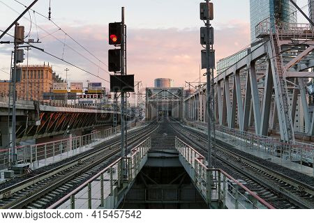Moscow Russia - April 03 2021:empty Railway Bridge Of The Moscow Central Circle (mcc) Transport Syst