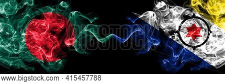 Bangladesh, Bangladeshi Vs Netherlands, Dutch, Holland, Bonaire Smoky Mystic Flags Placed Side By Si