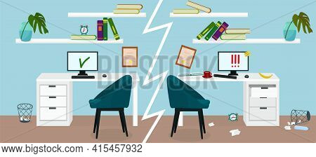 An Organized Workplace At Home And A Cluttered Workplace. Deadline And Procrastination