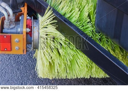 Rotating New Yellow Brush Of Street Sweeper Cleaning Machine.big Round Broom Of Street Sweeper With
