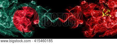 Bangladesh, Bangladeshi Vs Ussr, Soviet, Russia, Russian, Communism Smoky Mystic Flags Placed Side B