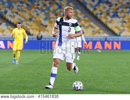 Kyiv, Ukraine - March 28, 2021: Paulus Arajuuri Of Finland Controls A Ball During The Fifa World Cup