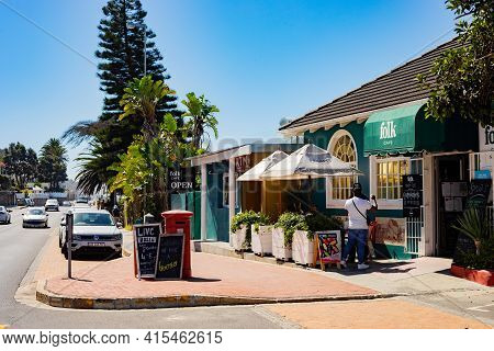 Cape Town, South Africa - March 23, 2021: Small Coffee Shop Cafe In Coastal Town Of St James