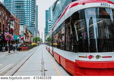 Toronto, Ontario Canada- August 29, 2019: Ttc Close View Os A Streetcar In Downtown Toronto's Entert