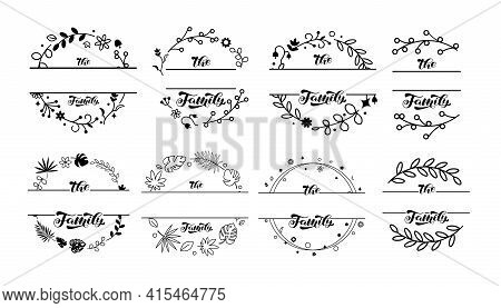 Wildflower Wreaths And Frames With Family Lettering Set. Space For Surname. Vector Stock Illustratio