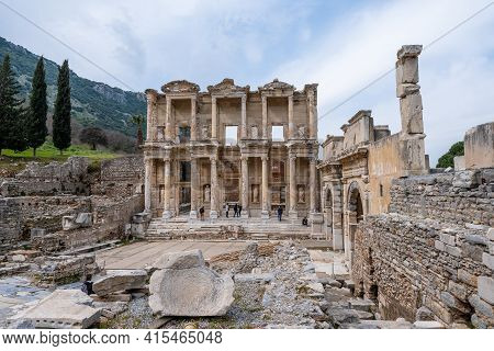 Selcuk, Izmir, Turkey - 03.09.2021: Wide Angle View Of Famous Celsus Library Third Largest Library I