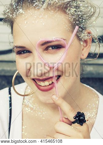 Young Pretty Party Girl Smiling Covered With Glitter Tinsel, Fashion Dress, Stylish Make Up, Lifesty