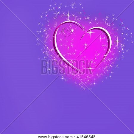Abstract Background With Glowing Pink Heart And Stars And Space For Text