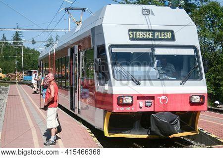 Stary Smokovec, Slovakia - June 8, 2014: Eletric Emu Train From Zssk Slovak Railways From Tez, Or Ta