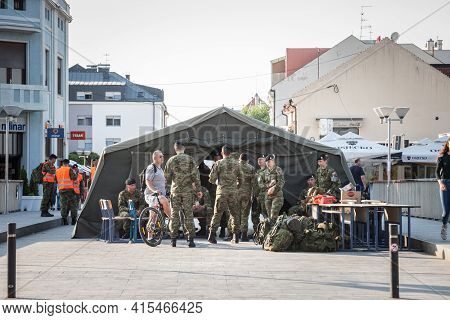 Vukovar, Croatia - May 11, 2018: Tent Full Of Croatian Soldiers, Infantry, In The Streets Of Vukovar