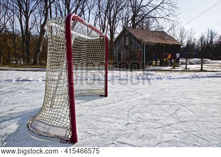 Ice Hockey Rink In The Rural Area Park In Winter