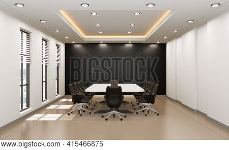 Meeting Room For Business, Empty Wall For Company Name, 3d Rendering.