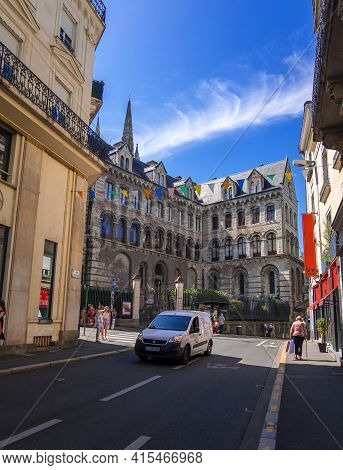 Angers, France - August 23, 2019: A Rue De Laiguillerie Street And Palace Of Tau In The City Center