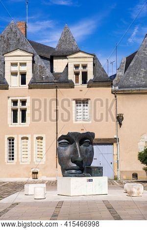 Angers, France - August 23, 2019: The Sculpture Of A Woman's Face By Franco-polish Sculptor Igor Mit