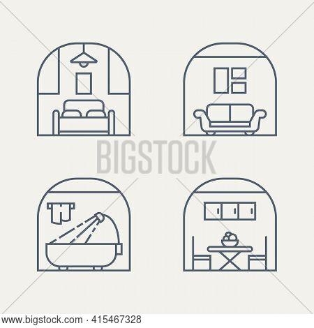 Set Of Furniture Bedroom, Living Room, Bathroom, Dining Room Minimalist Line Art Badge Logo Icon Des