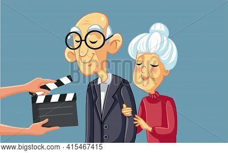 Senior Actors Filming Movie Scene With Art Director