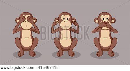Three Wise Monkeys Vector Funnyr Illustration Cartoon
