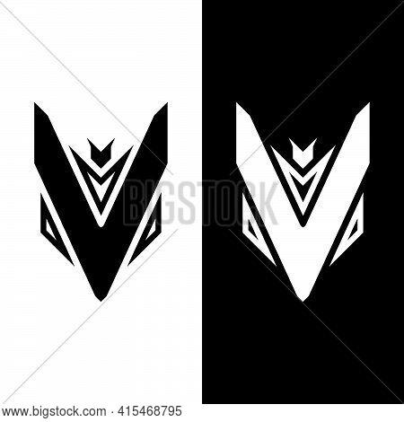 Initial Letter V Victory Logo Template In Flat Design Monogram Illustration