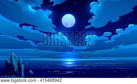 Full Moon Night Ocean Or Sea Landscape. Starry Sky With Clouds And Moonlight Reflection In Dark Wate