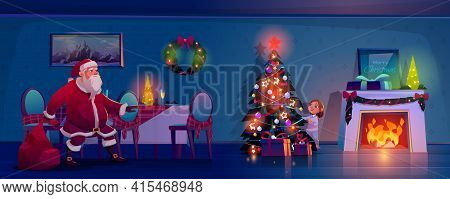 Santa Claus Sneaking Toward Christmas Tree To Place Gifts, Little Child Peeking Out Of Spruce For Fa