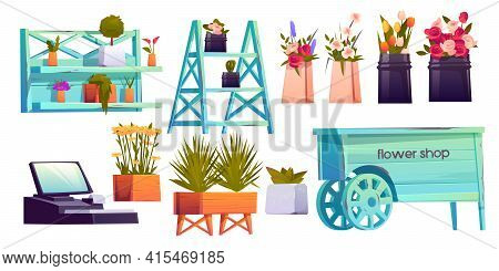 Flower Shop Set, Potted Plants On Shelves, Cashier And Decoration Isolated On White Background, Flor