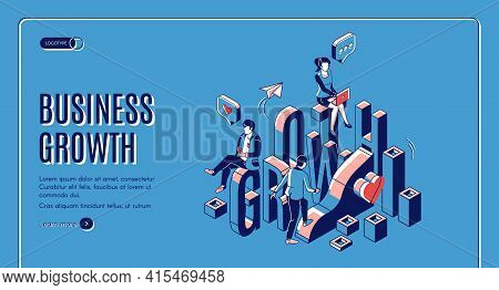 Business Growth Isometric Landing Page. Businesspeople Work In Internet Using Gadgets Climbing Up By