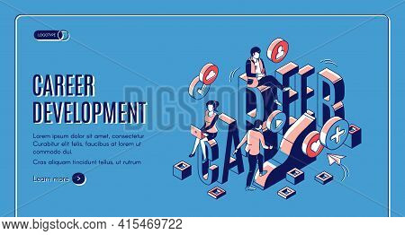 Career Development Isometric Landing Page. Marketing Strategy, Startup Boost. Businesspeople Work In
