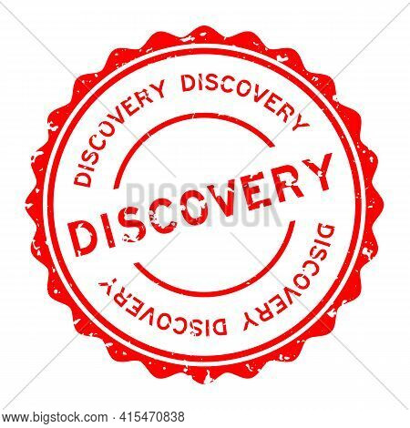 Grunge Red Discovery Word Round Rubber Seal Stamp On White Background