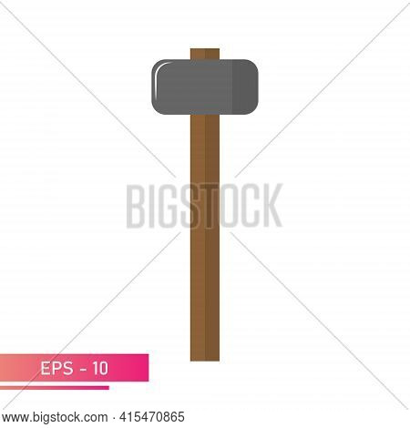 A Rounded Sledgehammer With A Wooden Handle. Realistic Design. On A White Background. Tools For The