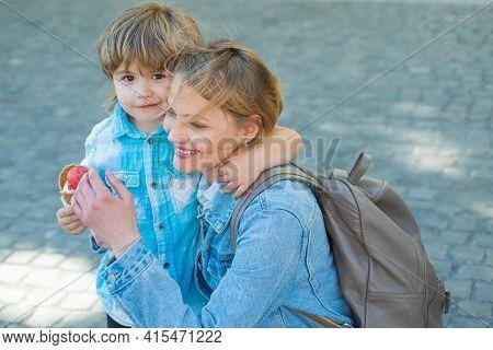 Summer Icecream. Mom Kid Relationships. Child Eat Ice Cream Outdoor. Junk Food