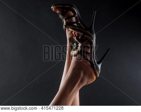 Trendy Shoes Fashion. Foot Closeup. Woman Sexy Legs. Seductive Girl