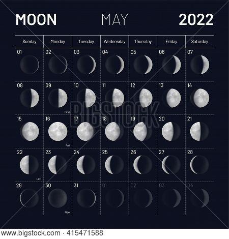 May Moon Phases Calendar On Dark Night Sky