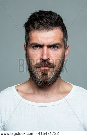Serious Man Face. Bearded Guy. Human Expression Emotion Concept. Portrait Of Serious Man