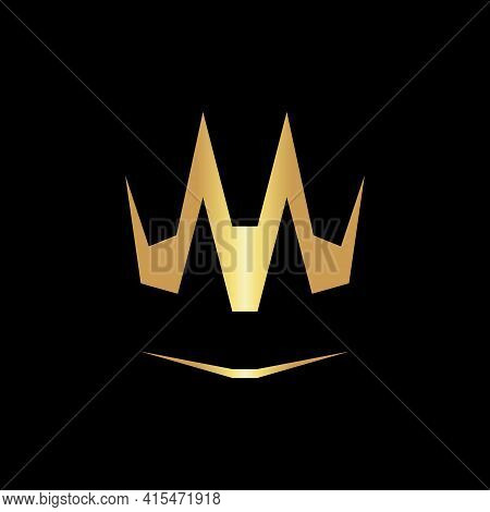 Abstract Creative Golden Crown Symbol, Icon On Black Backdrop. Design Element