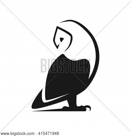 Barn Owl Looking Back Symbol On White Backdrop. Design Element