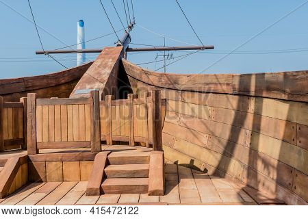 Forward Deck Of Replica 14th Century British Vessel Lyra At Maryong Port Park In South Korea.