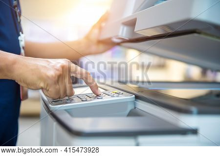 Close Up Hand Of Office Man Press The Copy Button On Panel To Using The Copier Or Photocopier Machin