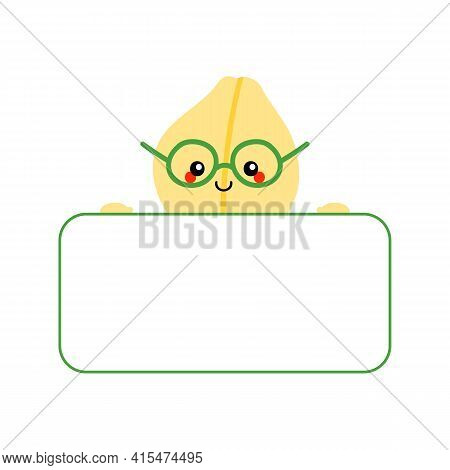 Cute Smiling Cartoon Style Chickpeas, Chick Pea Seed Character Holding In Hands Blank Card, Banner.