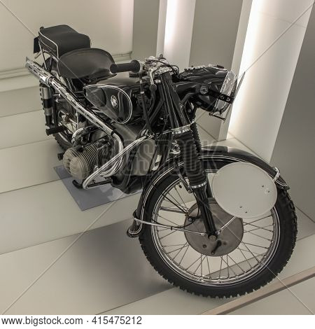 Germany, Munich - April 27, 2011: Classic Bmw R67 Motorcycle, Built In 1953 In The Exhibition Hall O