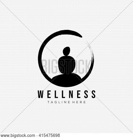 Zen Wellness Logo Vector Illustration Design. Balance Stone Yoga Symbol