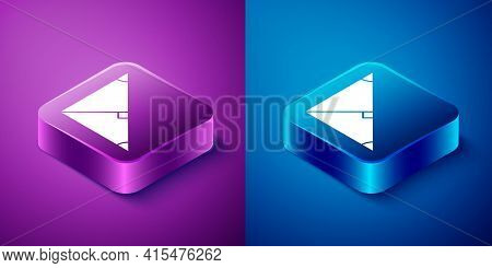 Isometric Angle Bisector Of A Triangle Icon Isolated On Blue And Purple Background. Square Button. V