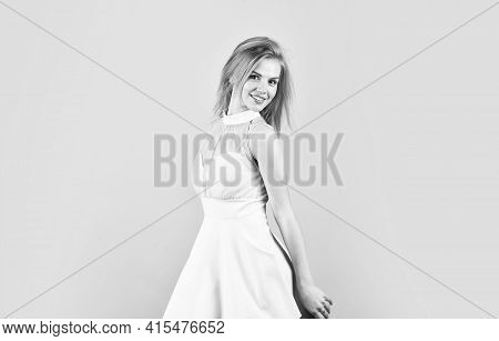 Tender Woman In Cute Dress. Adorable Blonde. Pretty Girl. Fashion And Beauty. Femininity And Tendern
