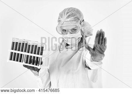 Stop Coronavirus. Coronavirus Pandemic Outbreak. Woman Doctor Hold Testing Tubes In Lab. Nurse Work
