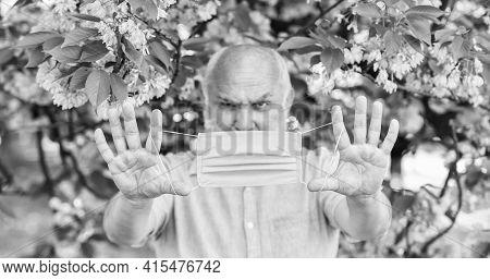 Senior Man Face Mask. Respiratory Mask. Pollen Allergen. Man And Flowers. Respiratory Condition. Ast