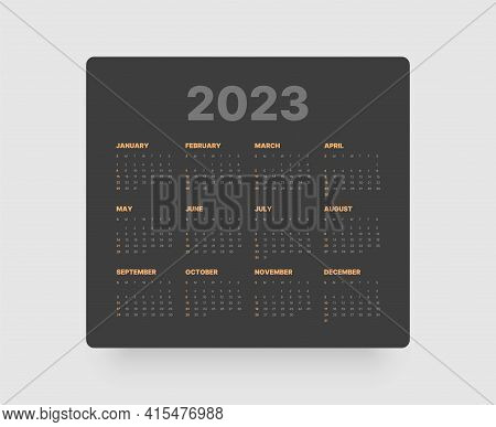 Monthly Calendar For 2023 Year. Week Starts On Sunday.