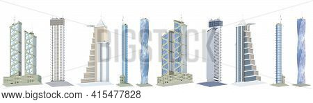 10 Low View Fine Detailed Renders Of Fictional Design Urban Skyscrapers With Blue Cloudy Sky Reflect