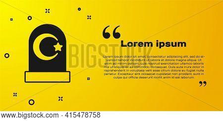 Black Muslim Cemetery Icon Isolated On Yellow Background. Islamic Gravestone. Vector