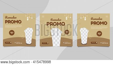 Set Of Ramadan Social Media Post Templates For Food And Drink Menu In Brown Color Background